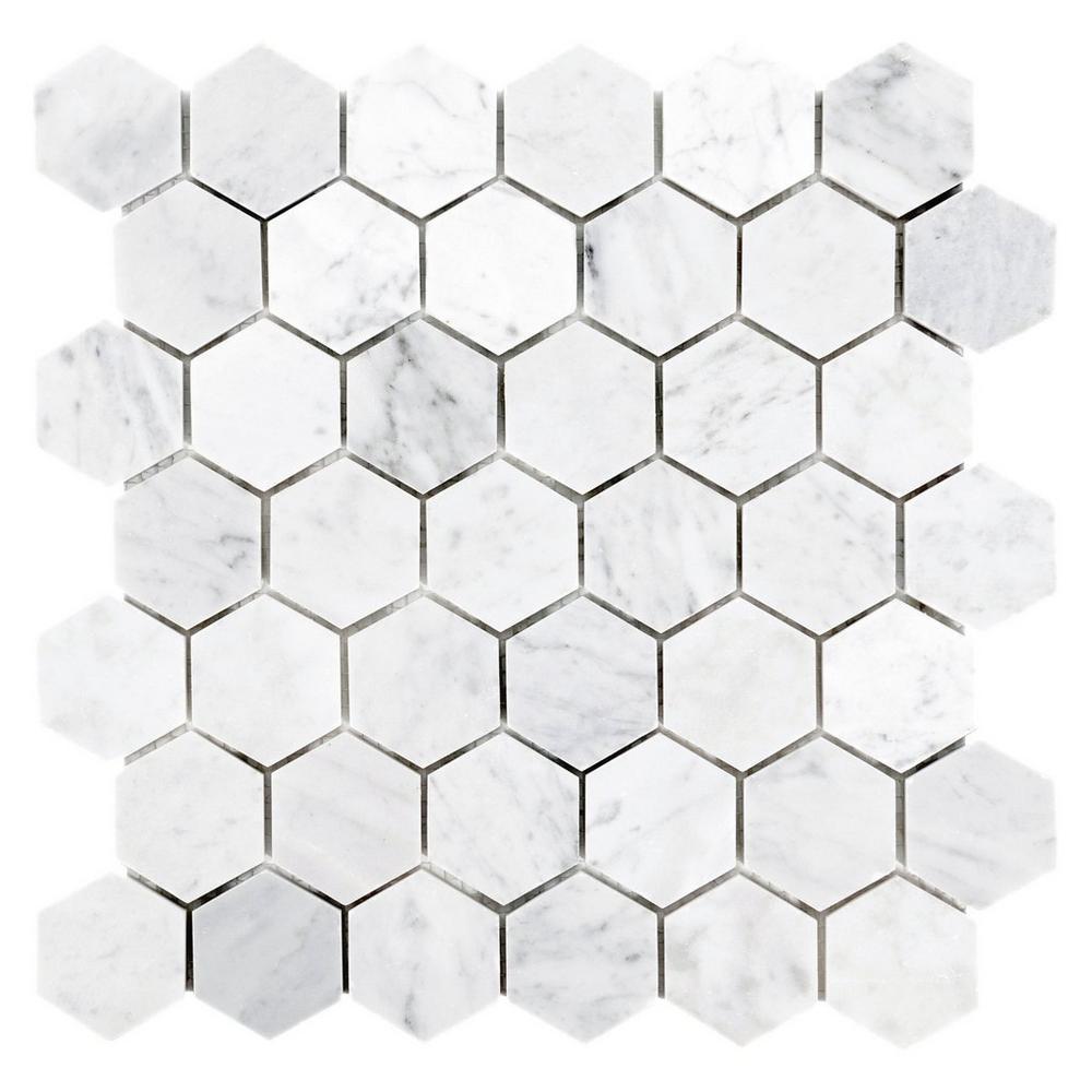 Bianco Carrara Hexagon Marble Mosaic Floor Decor In 2020 Marble Mosaic Bianco Carrara Marble Mosaic Floor