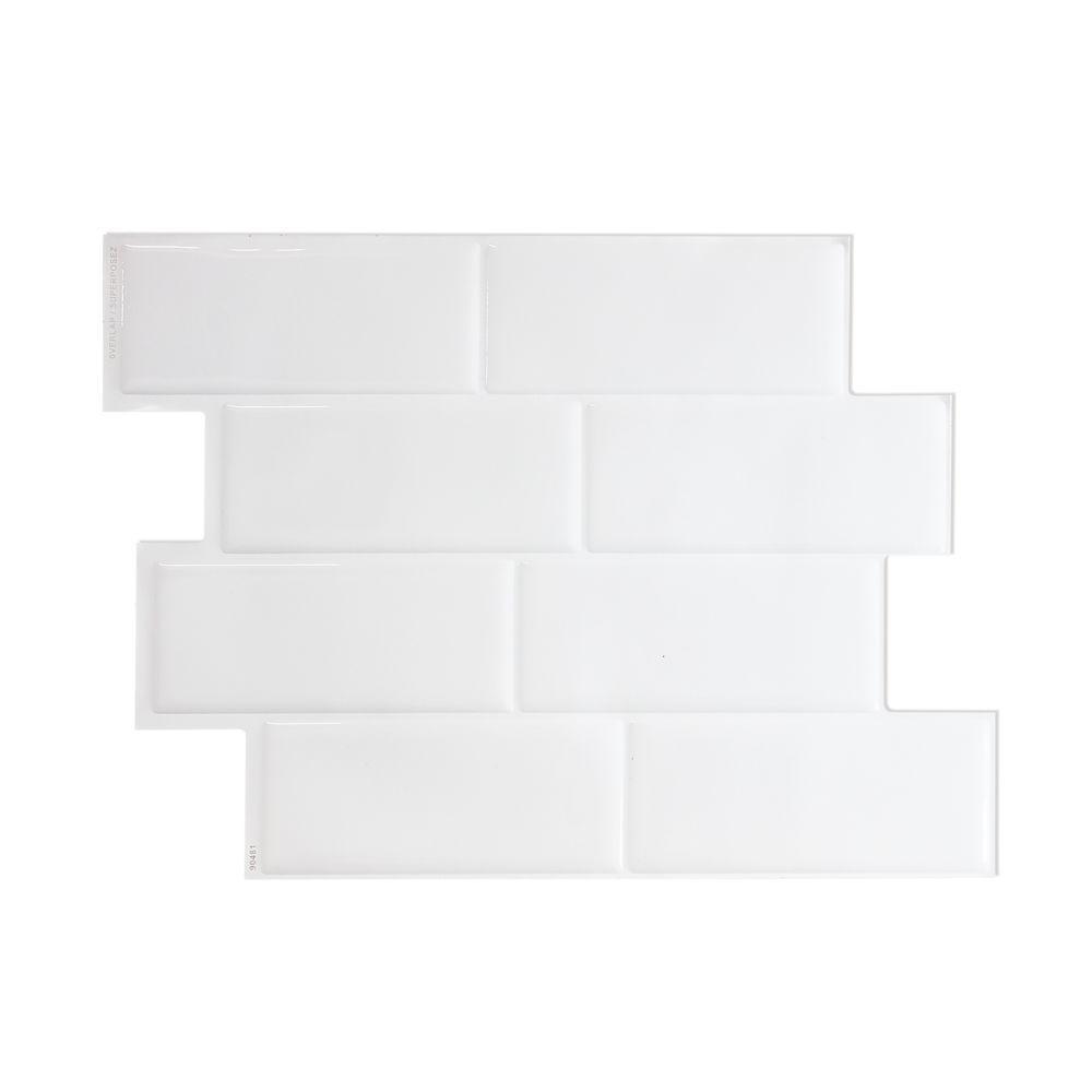 Metro Blanco 11 56 Inch X 8 38 Inch Tuiles Decoratives Autocollantes Peler Et Coller Pour Murs Et Dosserets 4 Pack Smart Tiles Decorative Wall Tiles Wall Decor