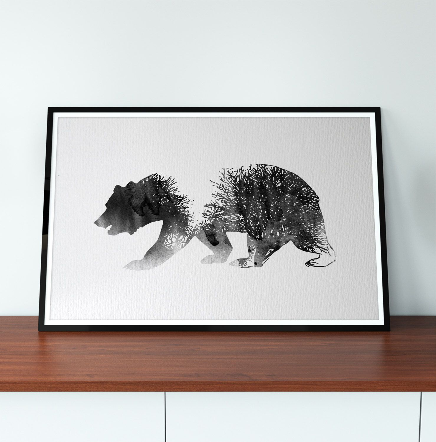 Bear Black And White Art Print, Forest, Bear Watercolor, Animal