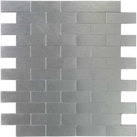 Art3d Peel And Stick Metal Backsplash Tile For Kitchen Bathroom Brush Silver Alumimium Subway Walmart Com Metallic Backsplash Metal Tile Backsplash Tile Backsplash