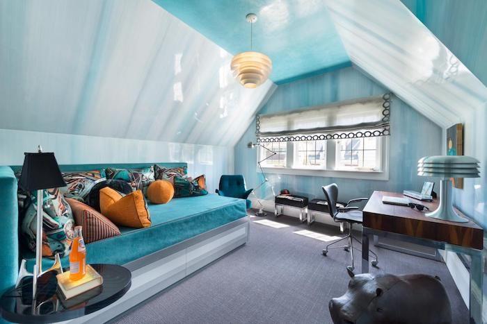 Wohnideen Dachgeschosswohnung schöne zimmer eine dachgeschosswohnung blaue farbe den wänden