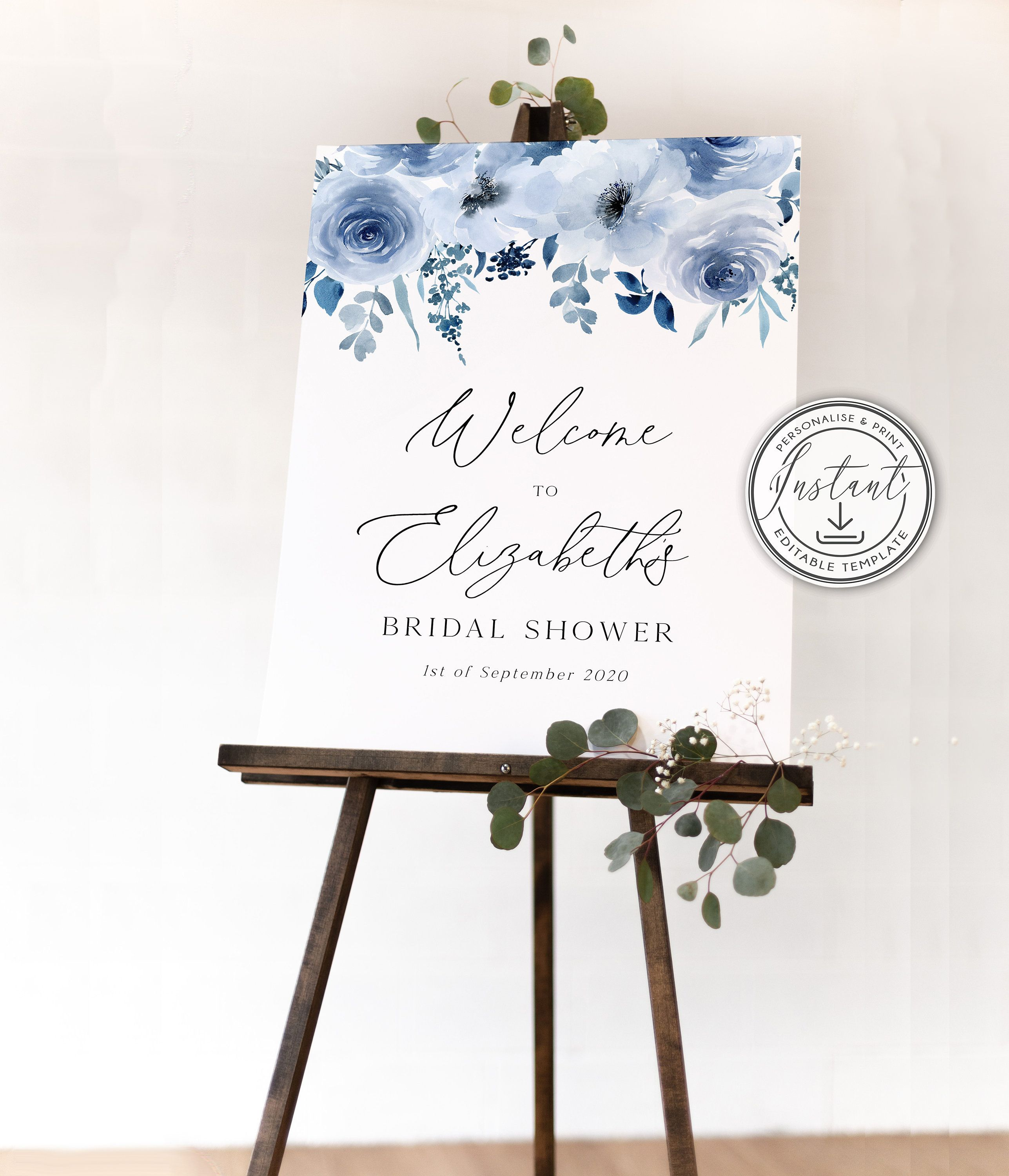 Blue Welcome Sign Navy Blue Watercolor Welcome Sign Blue and Silver Welcome Baby Sign Printed Or Digital File Baby Boy Shower