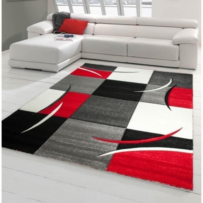 etonnant tapis de salon rouge et gris