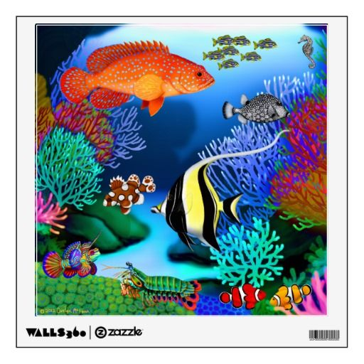 Bathroom Wall Art Canvas Artwork Nautical Coral Reef Ocean: Colorful Pacific Coral Reef Fish Wall Decal