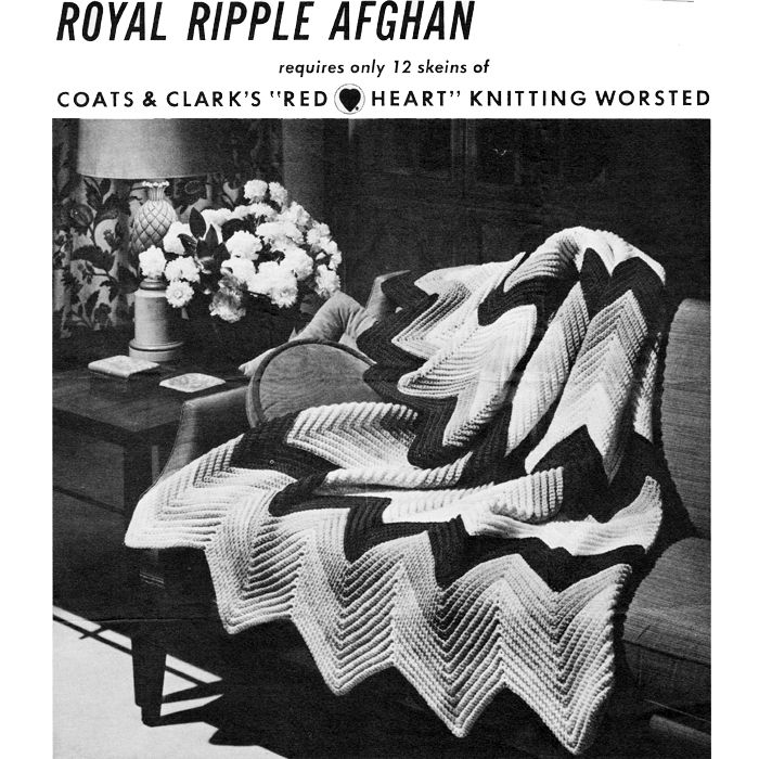 Vintage afghan crochet pattern, named Royal Ripple, is vintage ...