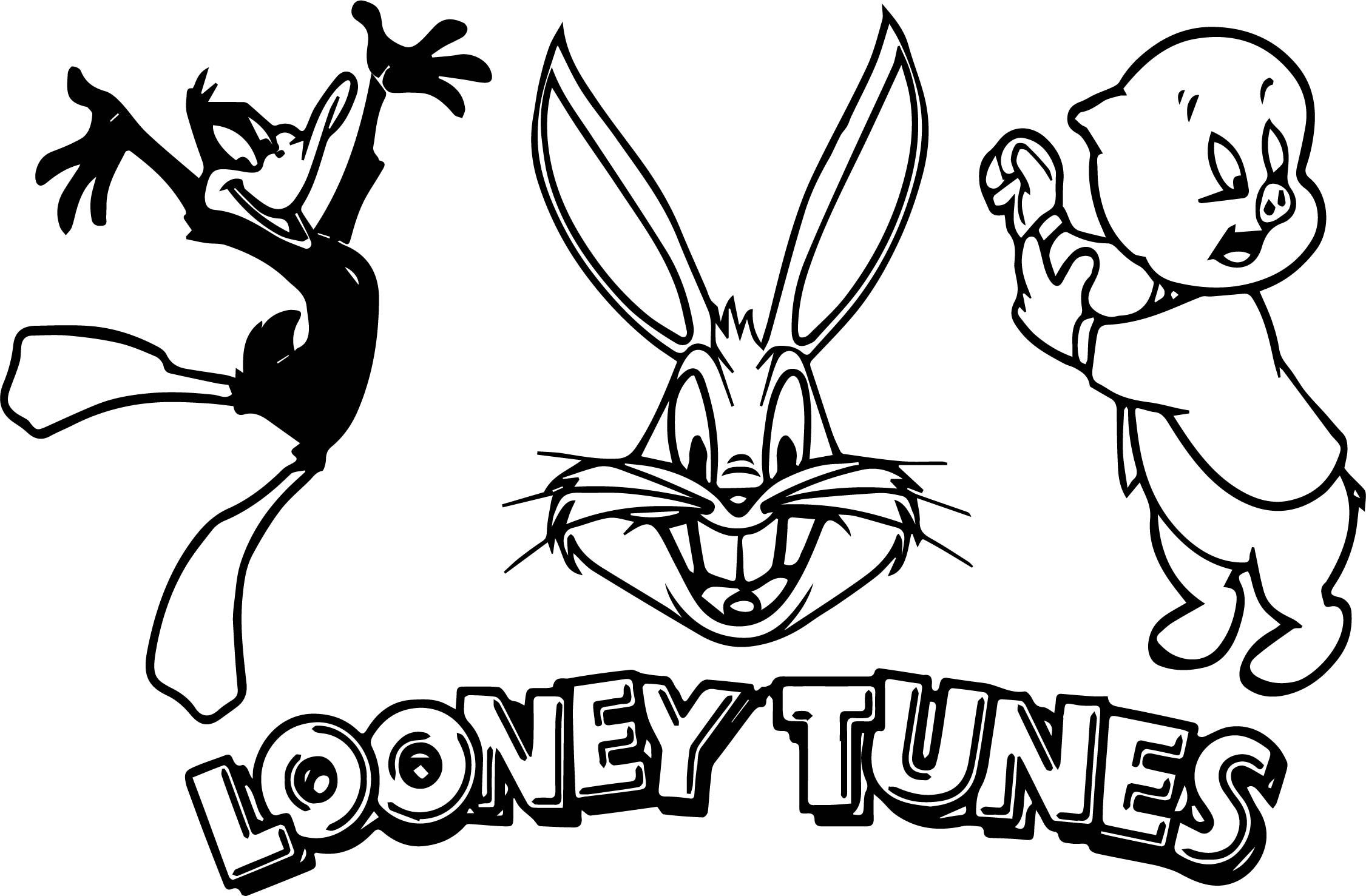Three Character The Looney Tunes Coloring Page Looney Tunes Coloring Pages Looney