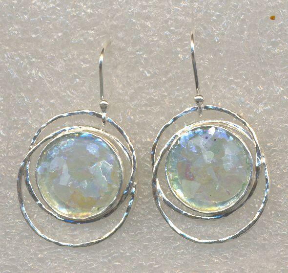 Israeli Jewelry Roman Gl On Silver Earrings
