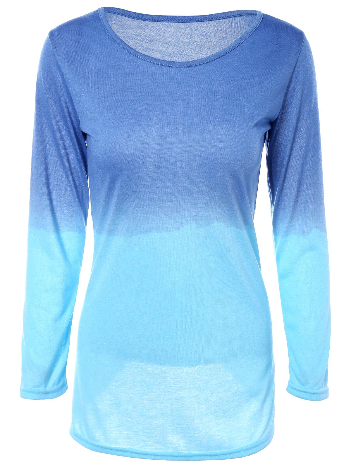 Gradient color round collar long sleeve tshirt dress blue s