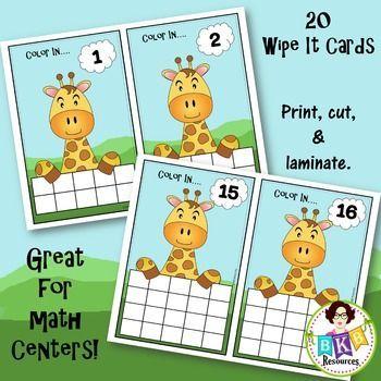 Ten Frame Activities - Giraffe Wipe It Cards - Number 1- 20 | Dry ...