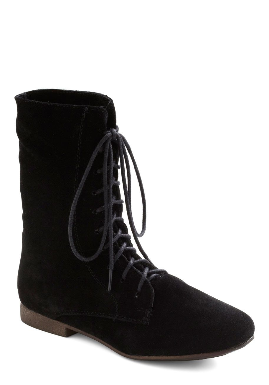 Lady in Rad Boot in Ink - Black, Solid, Lace Up, Casual, Fall, Faux Leather, Low, Variation, Best Seller, Top Rated