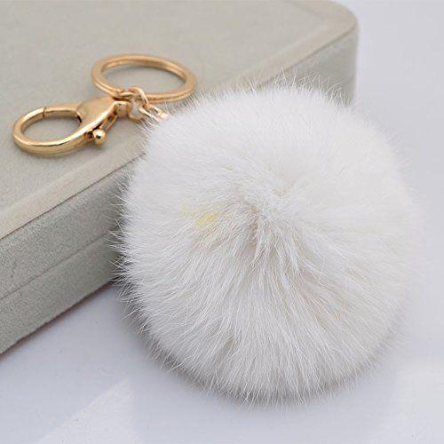 a83465b8d83d 18 K Gold Plated Keychain with Plush Cute Genuine Rabbit Fur Key Chain for Car  Key