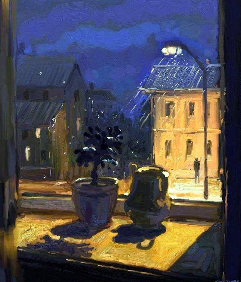 Рисунок дождь за окном, имени даша надписями
