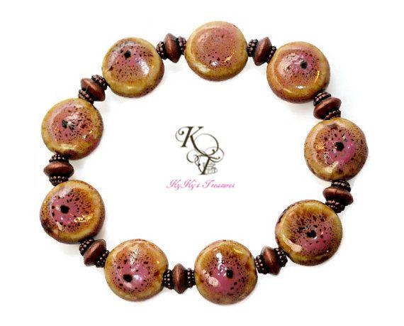 Porcelain Bracelet, Pink Bracelet, Elastic Bracelet, Stretch Bracelet, Copper Bracelet, Pink Jewelry, Pink and Brown, Brown and Pink
