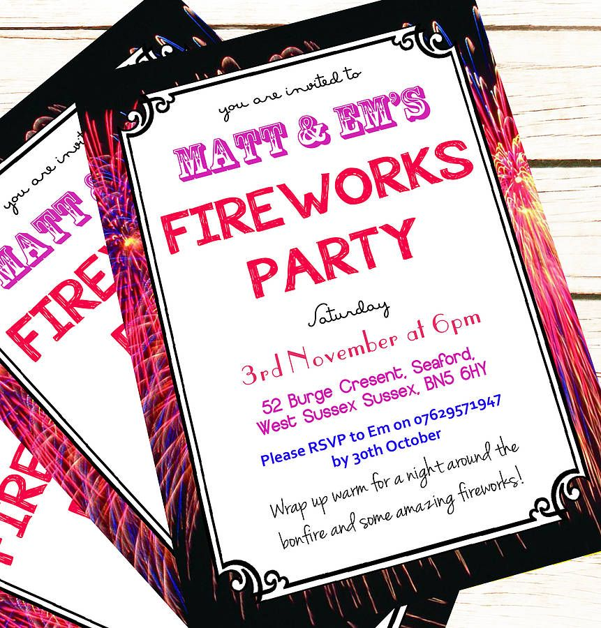 Personalised \'Fireworks Party\' Invitations | Party invitations and ...