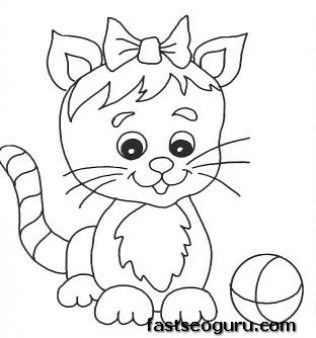 printable cute kitten playing with ball coloring pages printable