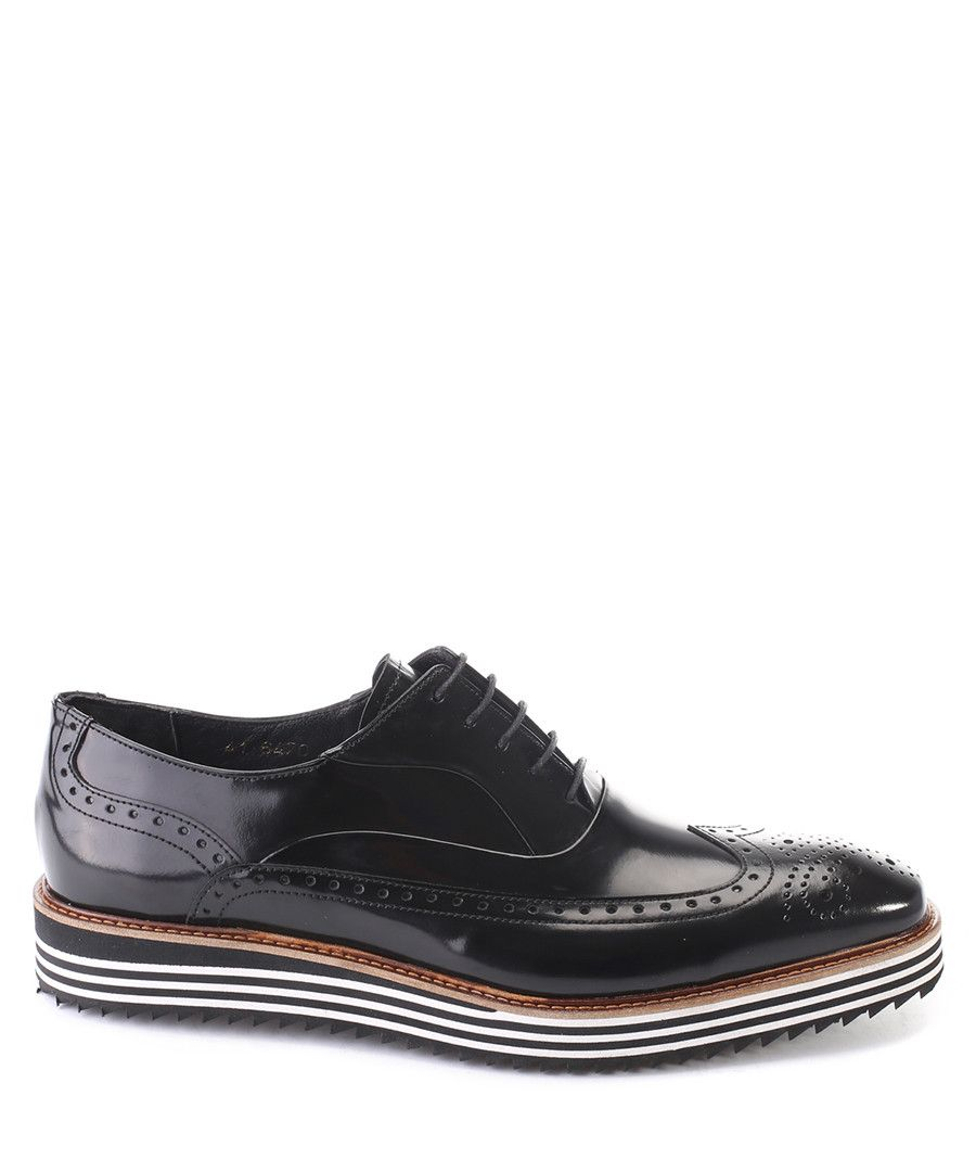 71297e2a0823 DECKARD Black striped sole leather brogues
