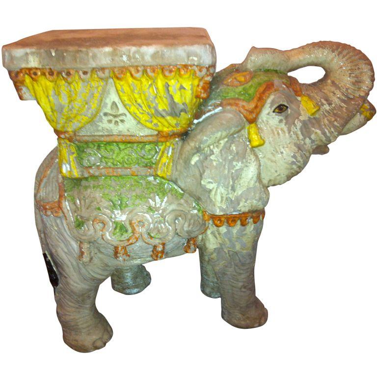 Awesome Vintage Ceramic Elephant Garden Stools