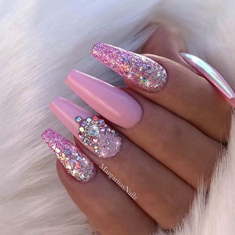 baby pink coffin nails glitter and bling designs