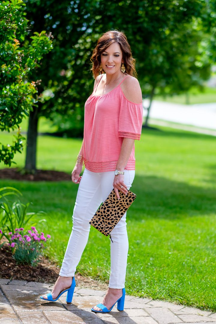 d0185a5e46f8ef Coral Cold Shoulder Top with White Jeans and Blue Sandals   Leopard Clutch   I usually wear neutral shoes with a colored top and white jeans