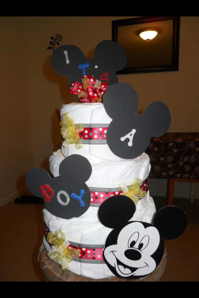 Mickey Mouse diaper cake Baby shower diaper cakes ...