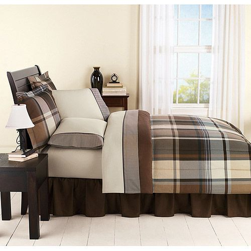 mainstays plaid brown bed in a bag bedding set - walmart (for