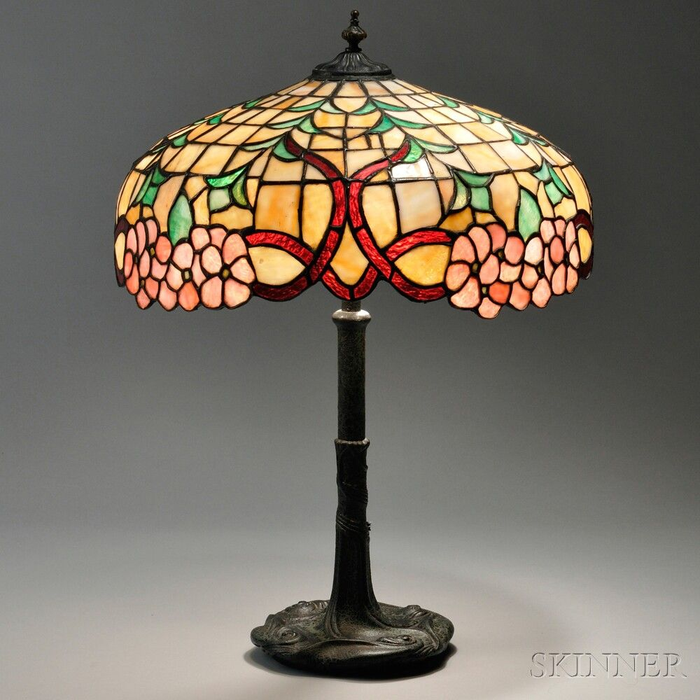 Lighting Chicago Il: Mosaic Glass Table Lamp Attributed To Chicago Mosaic Shade