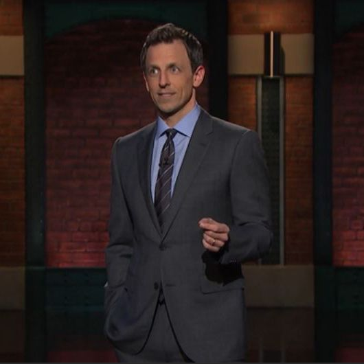 Late Night with Seth Meyers-Medium grey suit-Light blue shirt-grey ...