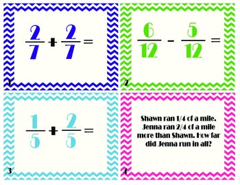 Add and Subtract Fractions with LIKE Denominators Task/Scoot Cards