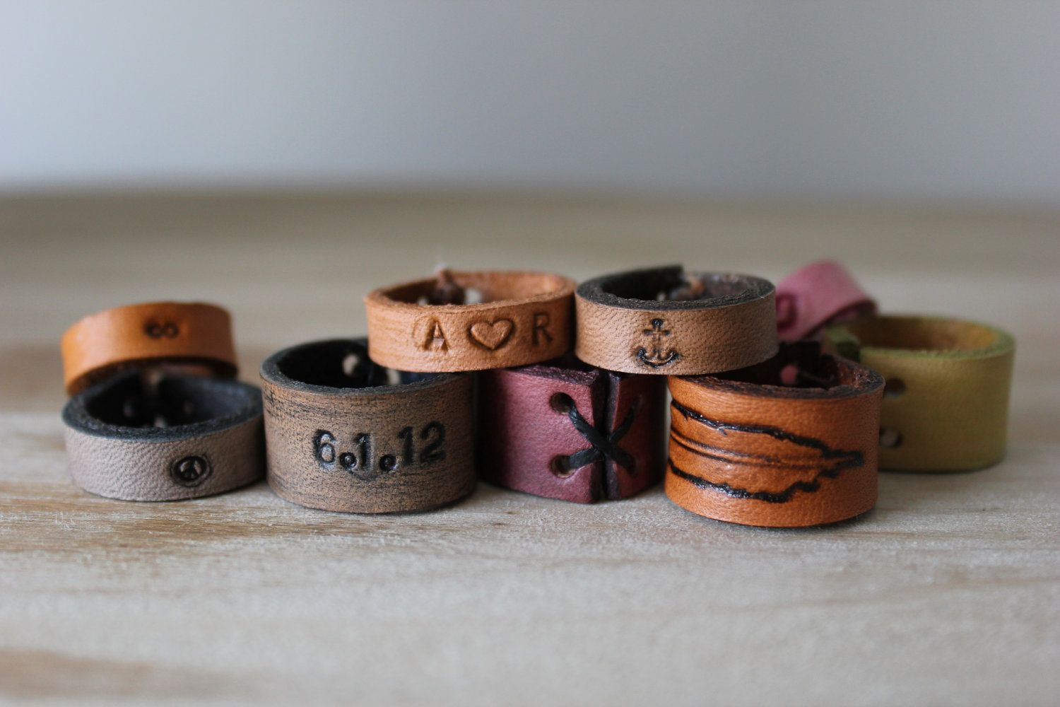 Leather ring infinity symbol anchor choose your color text items similar to leather ring infinity symbol anchor choose your color text date number or symbol on etsy biocorpaavc
