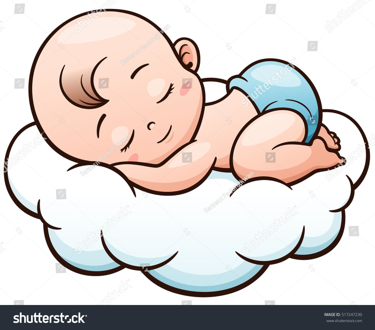 Vector Illustration Of Cartoon Baby Sleeping On A Cloud Baby Cartoon Drawing Baby Drawing Baby Art