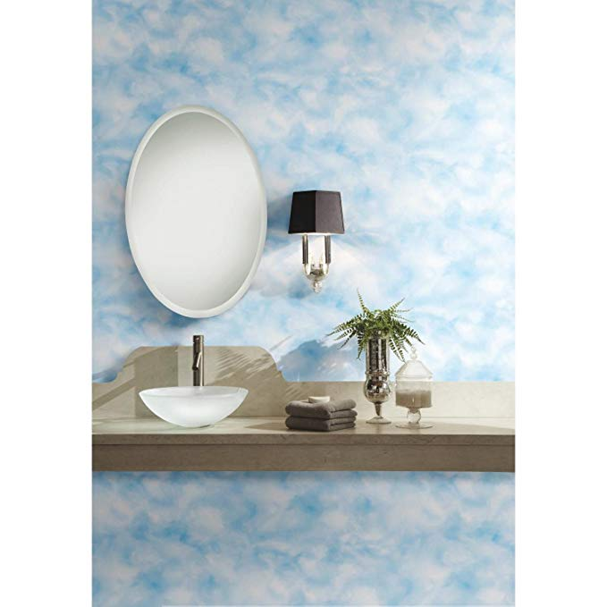 Roommates Cloud Peel And Stick Wallpaper Amazon Com Peel And Stick Wallpaper Peelable Wallpaper Round Mirror Bathroom
