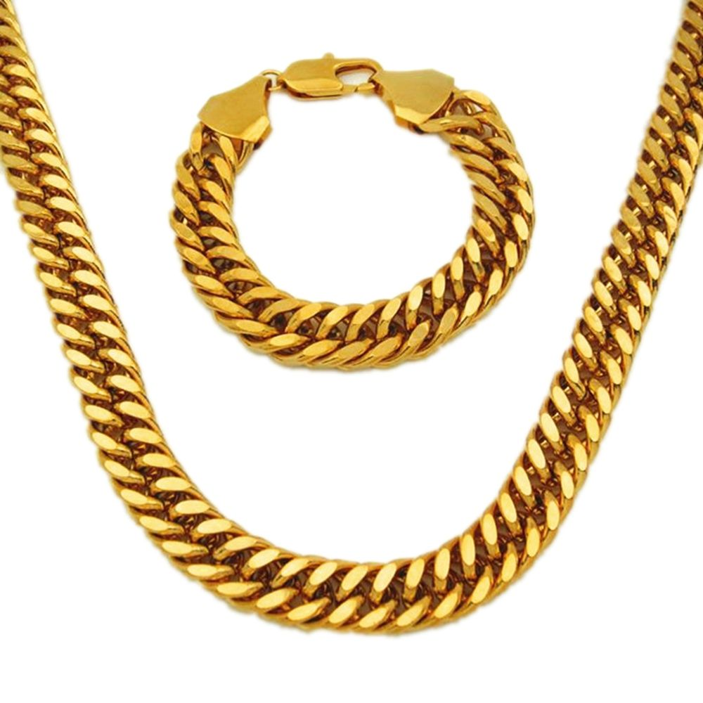 Thick yellow gold filled double curb chain solid heavy mens necklace