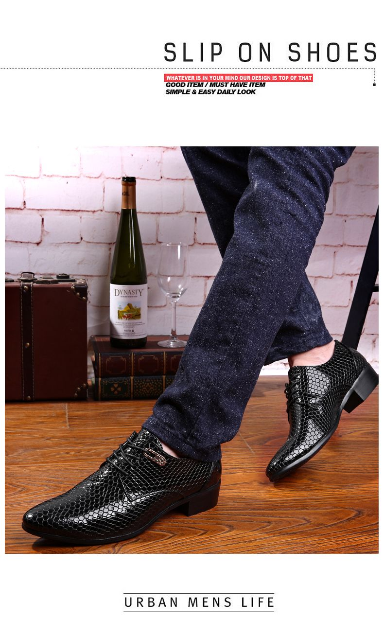 Shoes Snake Leather Men Oxford Shoes Lace Up Casual Business Men Pointed Shoes Brand Men Wedding Men Dress Boat Shoes