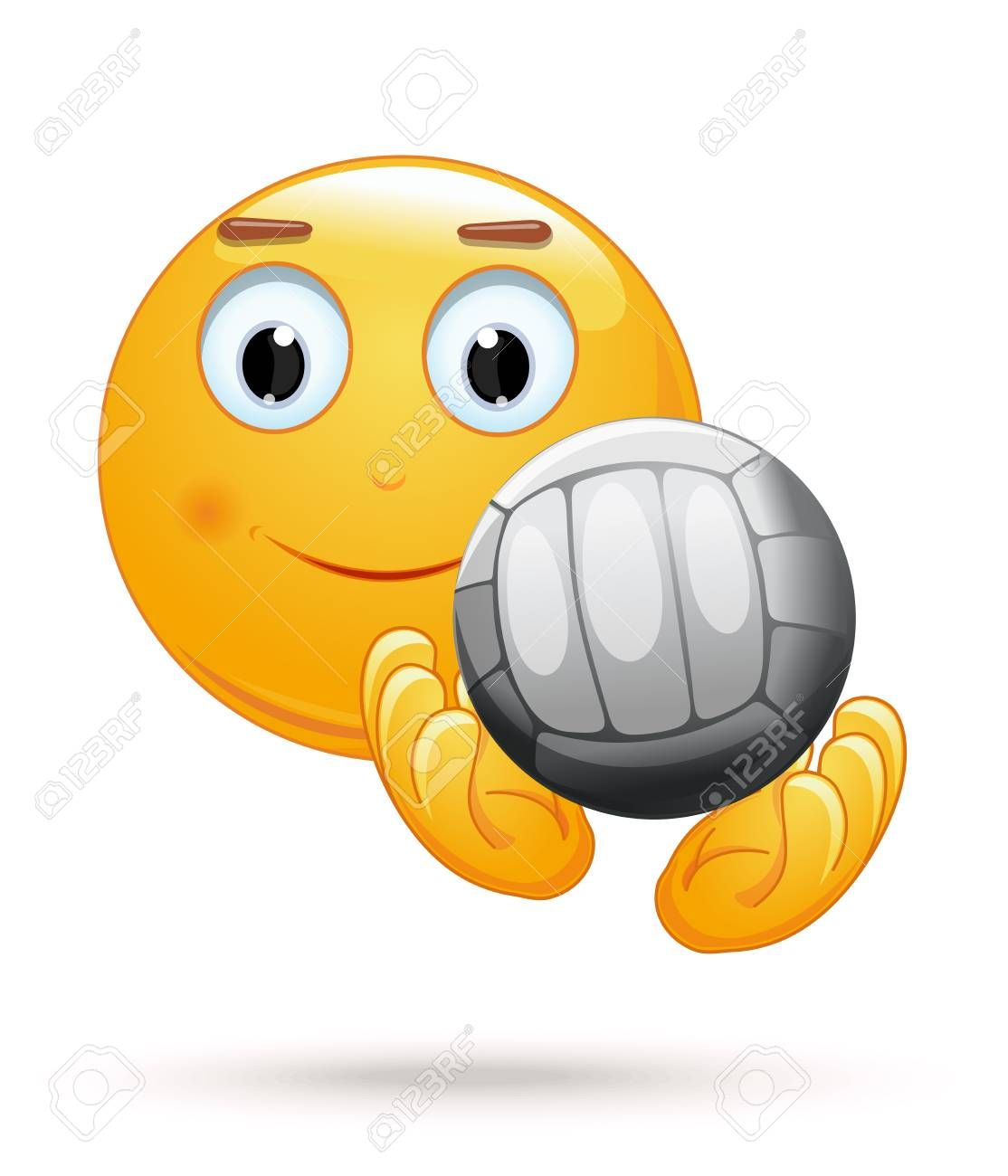 Cheerful Smiley Catches The Ball Emoticon Face Playing Volleyball Emoji With Ball For Playing Volleyball Vector Illustration In 2020 Emoticon Smiley Emoticon Faces
