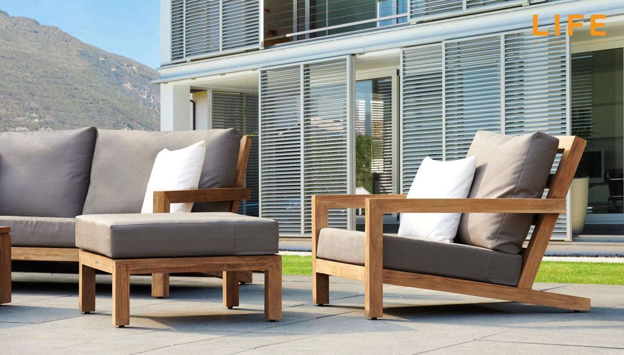 lounge set block teak tuinmeubel collectie life. Black Bedroom Furniture Sets. Home Design Ideas