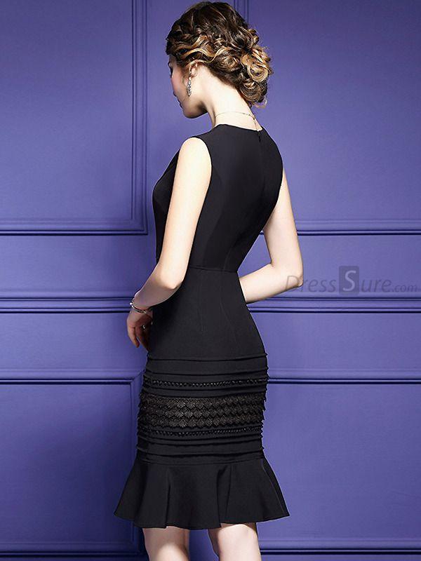 Chic O-Neck Sleeveless Pure Color Slim Mermaid Dress | Ropa modesta ...