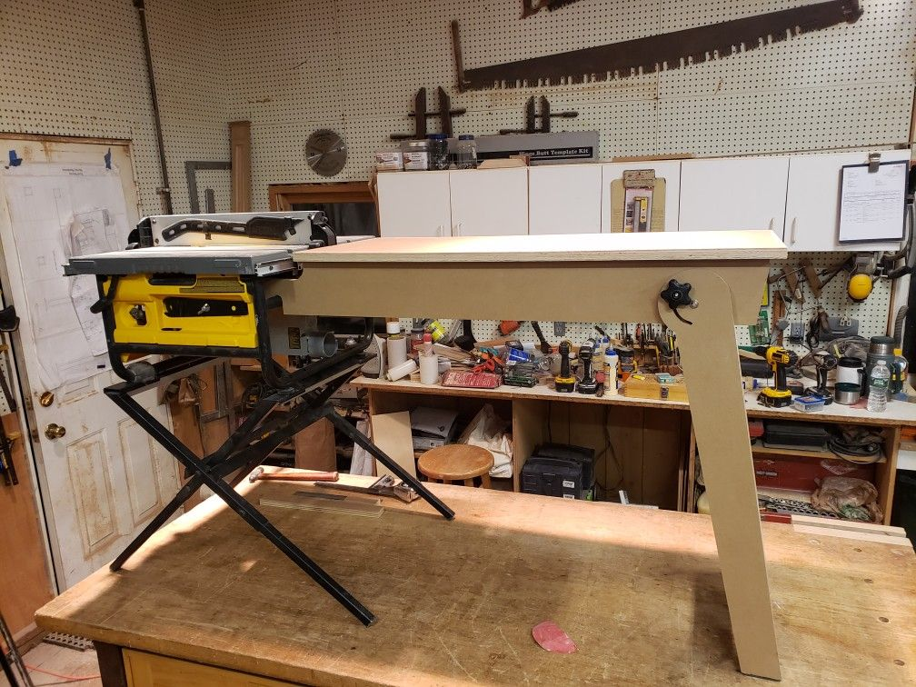 Portable Table Saw Folding Outfeed Table With Images Portable Table Saw Portable Work Table Table Saw Stand
