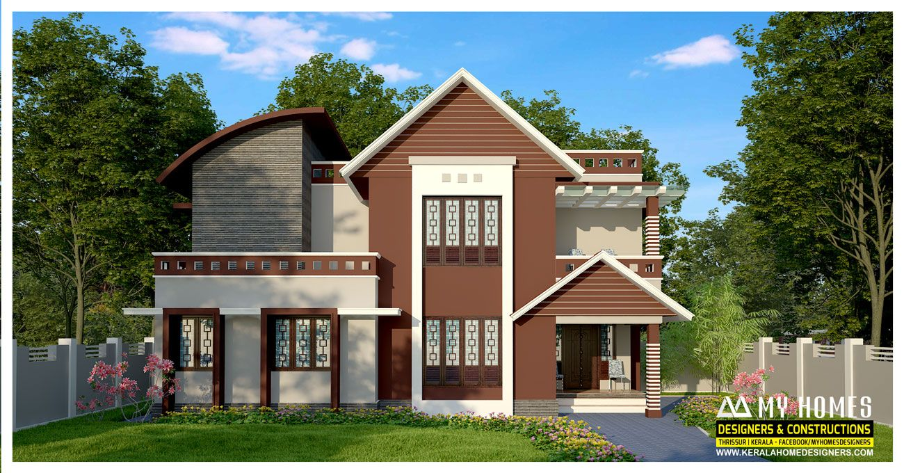 Modern 1700 Sq Ft Small Budget Homes In Kerala Total Ground Floor Area 950 Sq Ft Total First Floor Area 750 Sq Ft Ground House House Roof House Elevation
