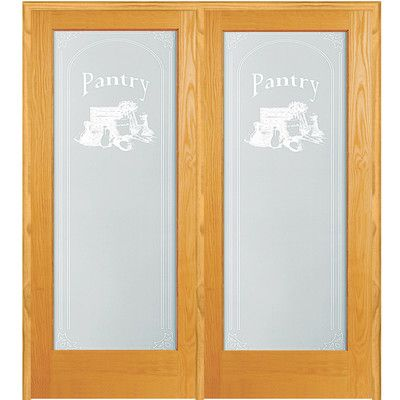Verona Home Design Pantry Wood 2-Panel Natural Interior French Door