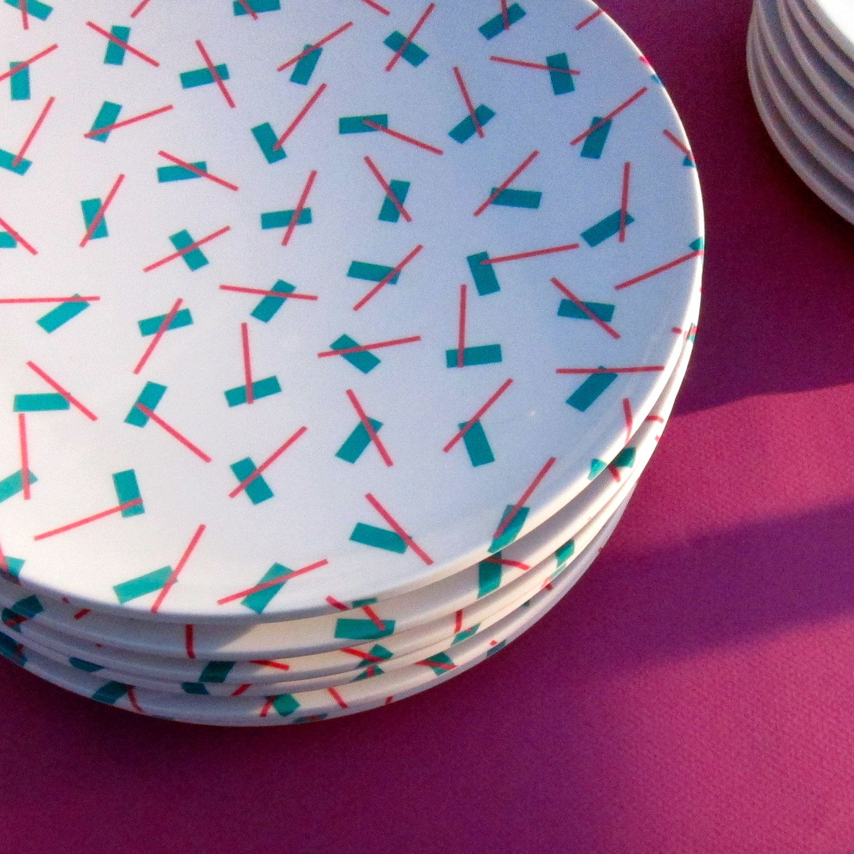 vintage melamine dinnerware pink aqua geometric plates 10 - Melamine Dishes