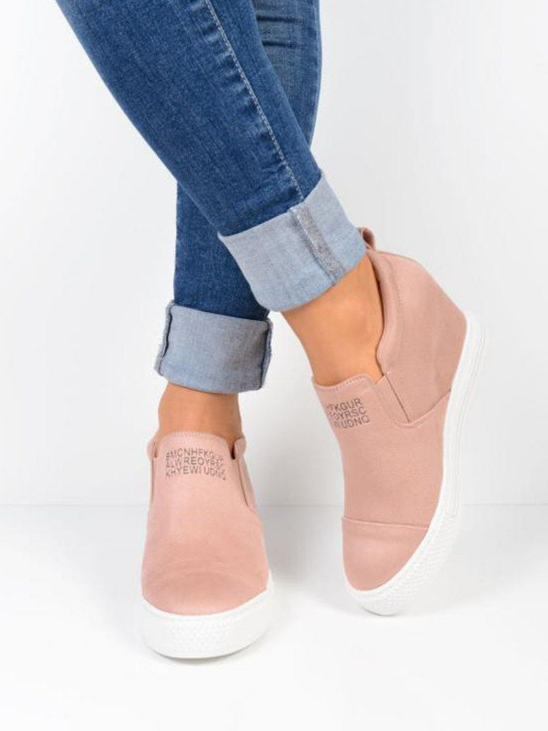 0e92e81b0d6 Fashion Letter Slip On Wedge Sneakers Faux Suede Wedge Heel Casual Sne –  Manychic