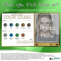 Curious to see what you'd look like with blue, green or even gray eyes? Try on the AIR OPTIX® COLORS contact lenses at the Color Studio! #LiveinColor