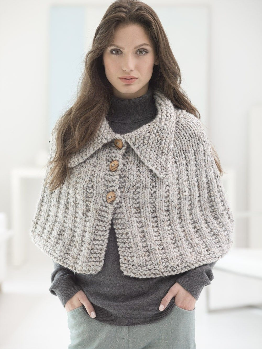 Quick knit capelet lion brand yarn lion brand pinterest knit this easy quick knit capelet with our featured yarn free pattern calls for 4 balls of wool ease thick quick in grey marble and size 13 36 inch bankloansurffo Gallery