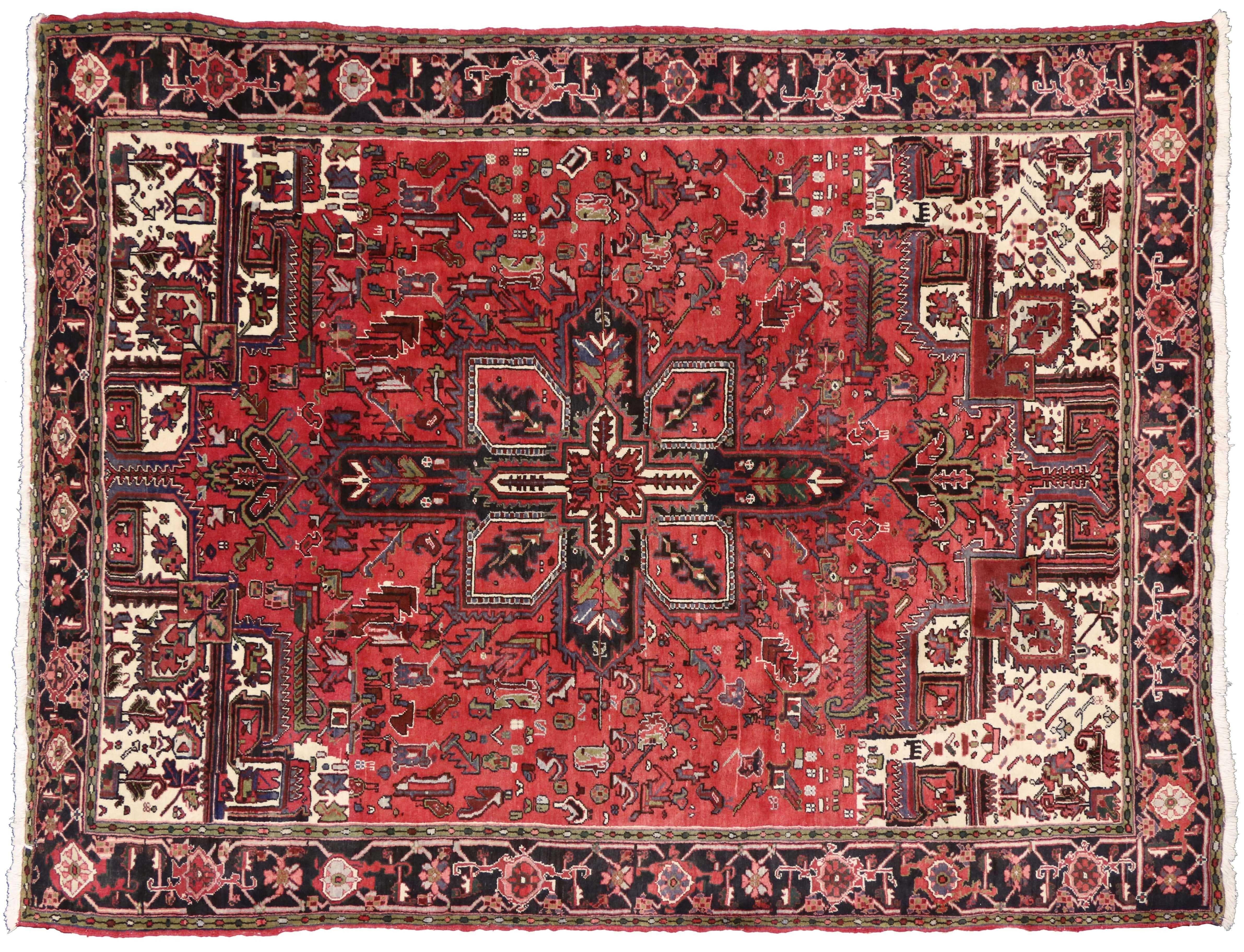 Vintage Heriz Oriental Rug 8 X 11 Oriental Rug Rugs On Carpet Rugs