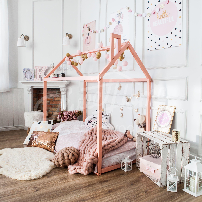 Wooden house bed frame, platform bed, Teepee bed, Wood bed
