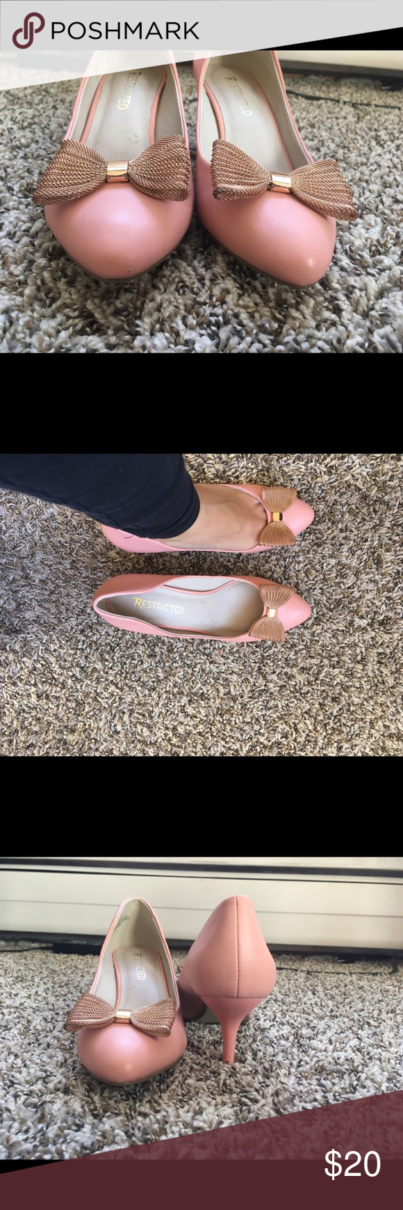 Pink Pointed High Heel Beautiful elegant bow that makes these pink shoes a fashion statement to any outfit. Restricted Shoes Heels