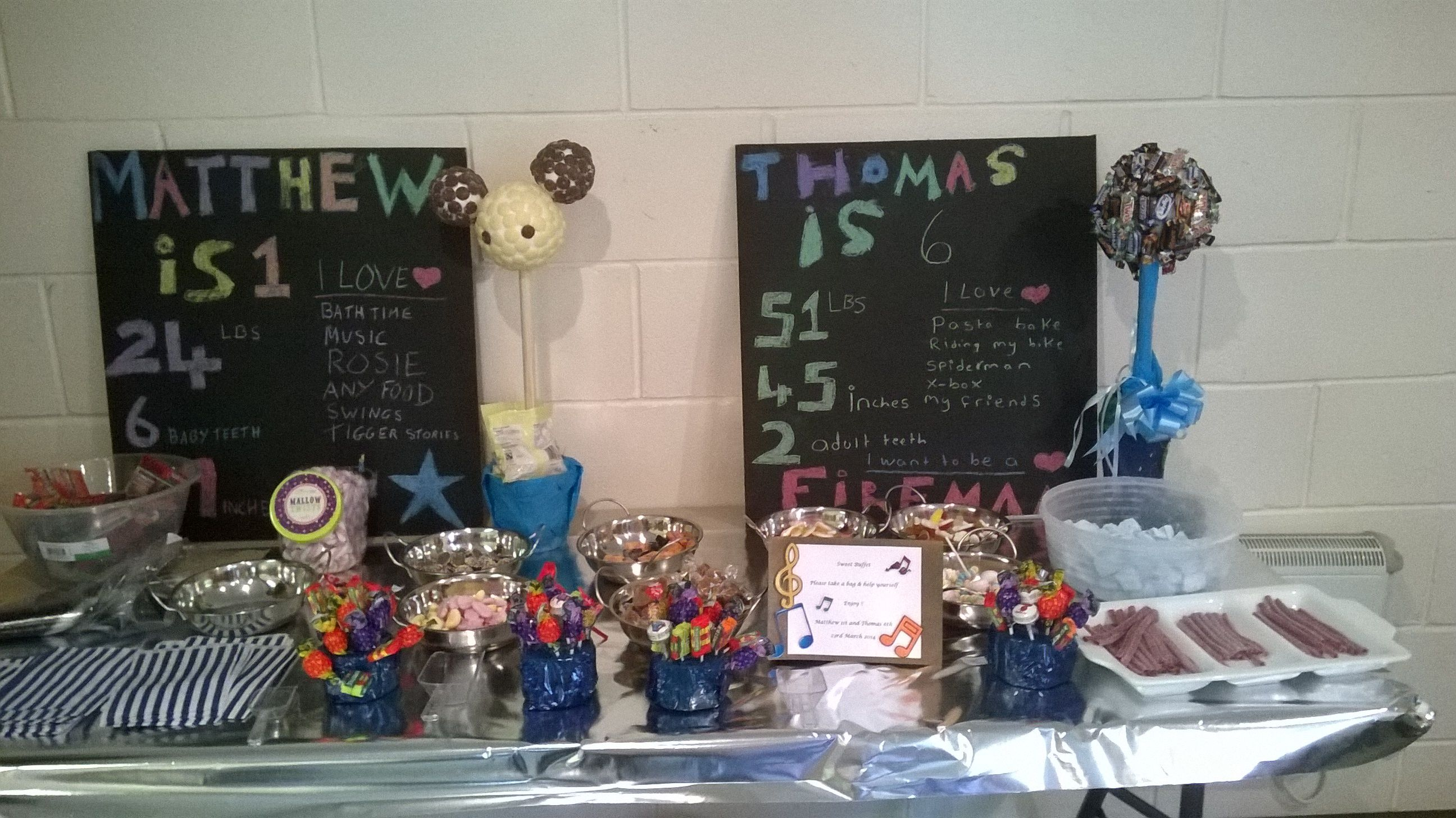 "DIY sweetie buffet with chalkboard with childrens details, home made sweet trees, home made blue marshmallows to feed 45 children with generous bags with ""thank you for coming to my party"" sticker to secure the sweets and goodies"