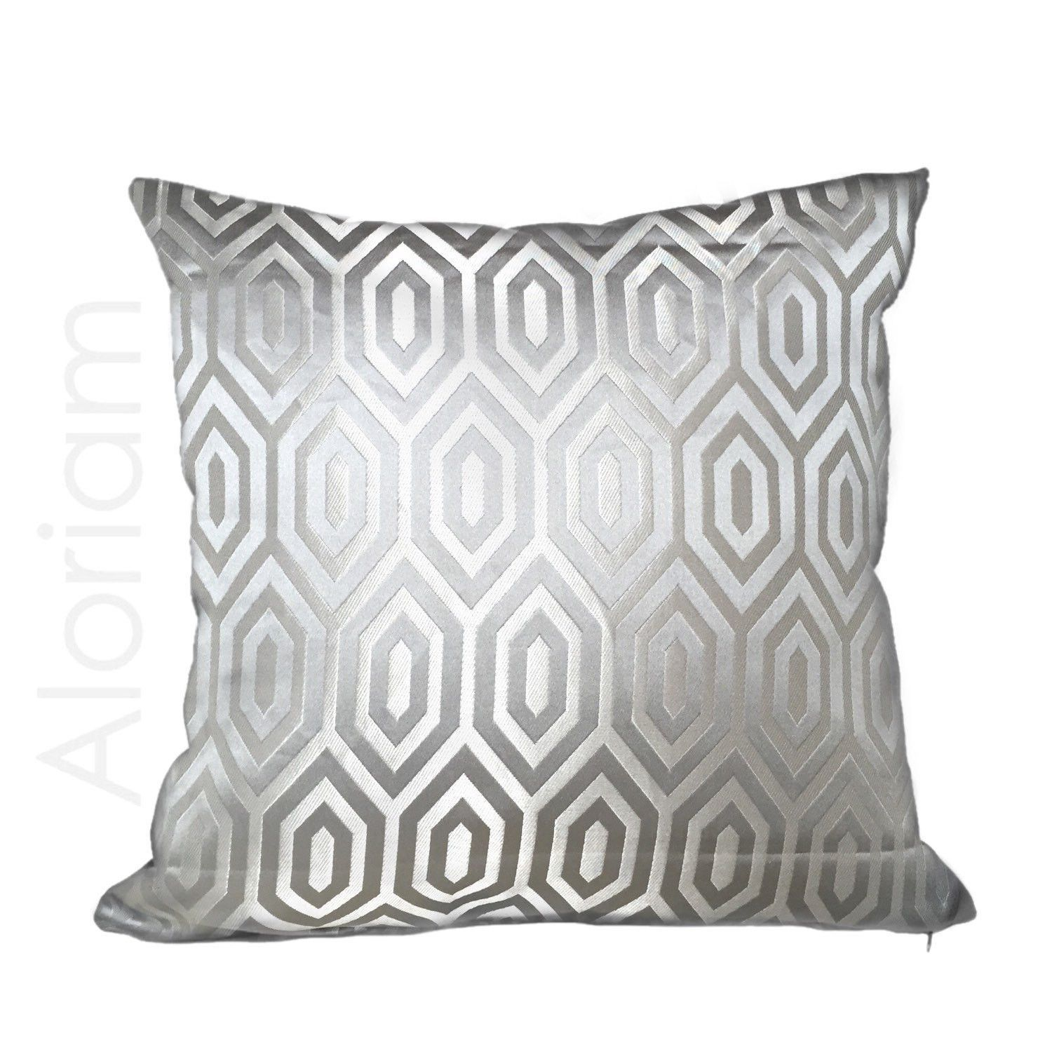 Silver gray hexagon geometric satin pillow cover products