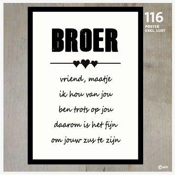 Nieuw Tekstposters Broer 116 | Zus citaten, Zus gedichten, Teksten EM-27