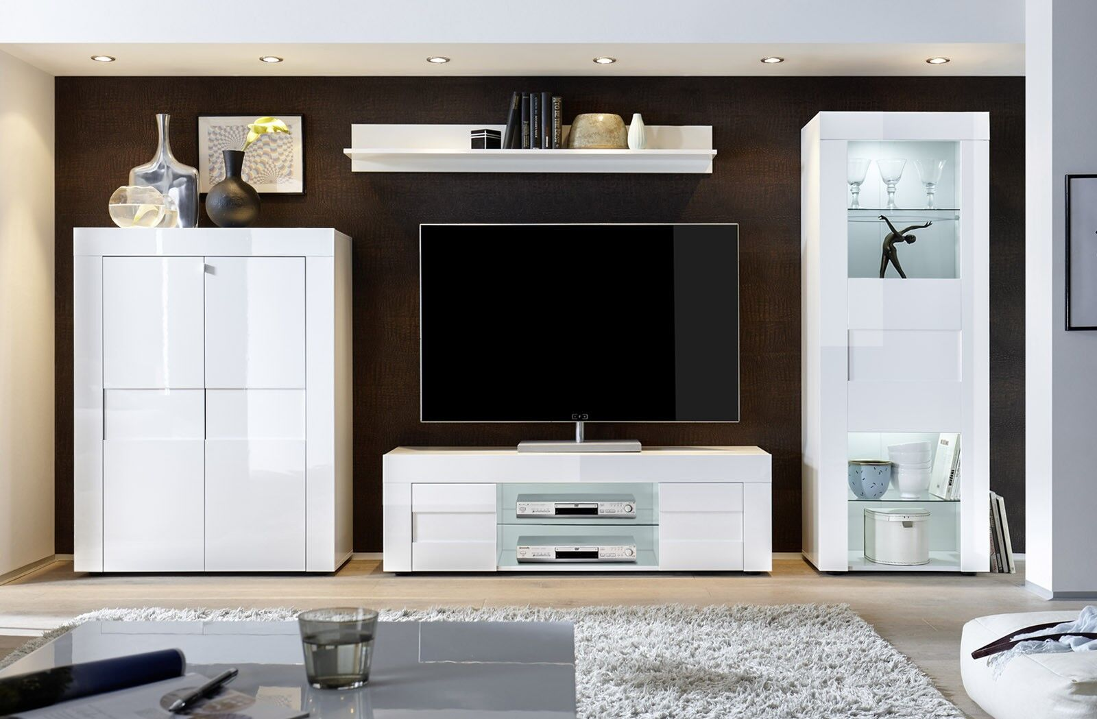 Parete composta di Design in Bianco Lucido   Design ...